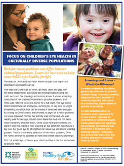 Download the Focus on Children's Eye Health in Culturally Diverse Populations Report