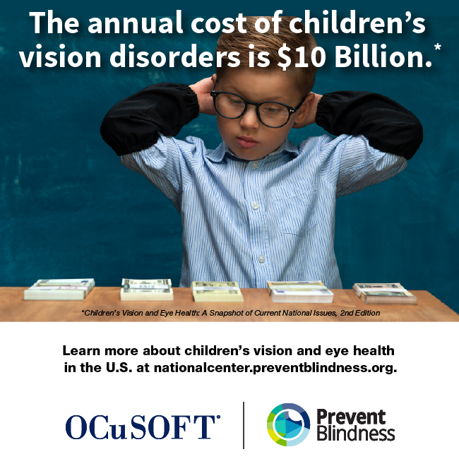 The annual cost of children's vision disorders is $10 billion.