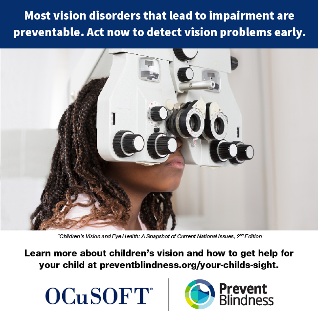 Most vision disorders that lead to impairment are preventable. Act now to detect vision problems early.