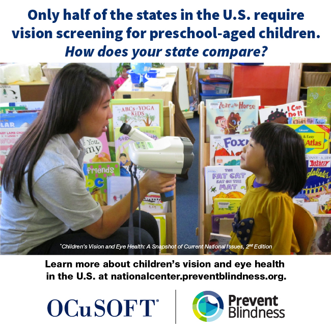 Only half of the states in the U.S. require vision screening for preschool-aged children. How does your state compare?