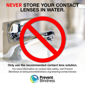Never store your contact lenses in water.