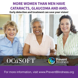 More Women than Men Have Cataracts, Glaucoma, and AMD.