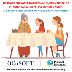 Hormone changes from pregnancy, perimenopause or menopause may affect women's vision.