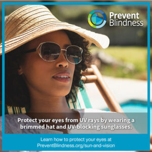 Protect your eye from UV rays by wearing a brimmed hat and UV-blocking sunglasses.