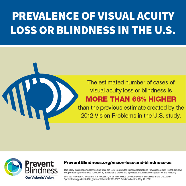 The estimated number of cases of visual acuity loss or blindness is more than 68% higher than the previous estimate
