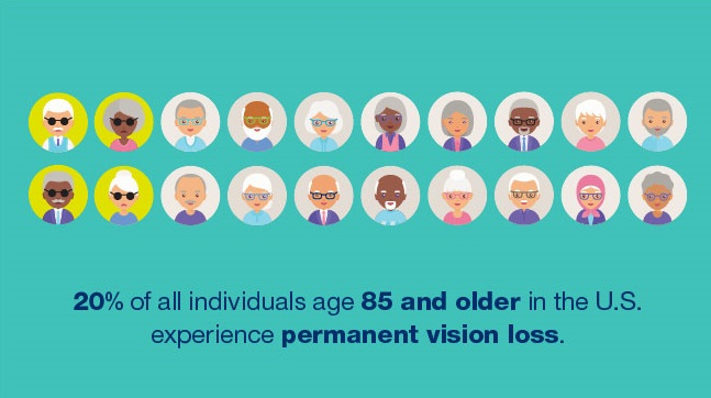 20% of all individuals age 85 and older in the U.S. experience permanent vision loss