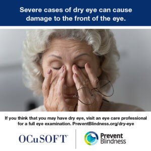 Severe cases of dry eye can cause damage to the front of the eye.